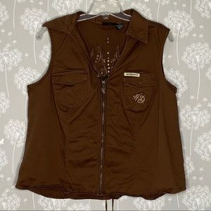 Harley Davidson Vest Size 2X Brown Embroidered